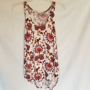 NWOT floral tank top sleeveless white boho size S